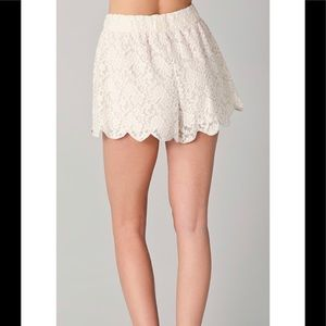 Free People Shorts - Free People Scalloped Lace Shorts Ivory